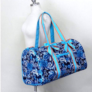 Turquoise & Blue Quilted Paisley Large Duffel Bag